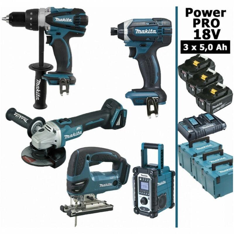 MAKITA Pack Power PRO Makita 18V: Perceuse 91Nm DDF458 + Meuleuse 125mm DGA504 + Scie