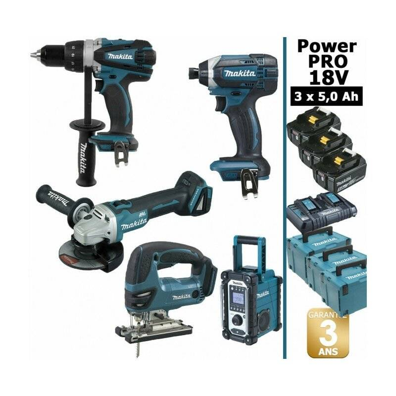 MAKITA Pack Power PRO Makita 18V: Perceuse 91Nm DDF458 + Meuleuse 125mm DGA504 + Scie