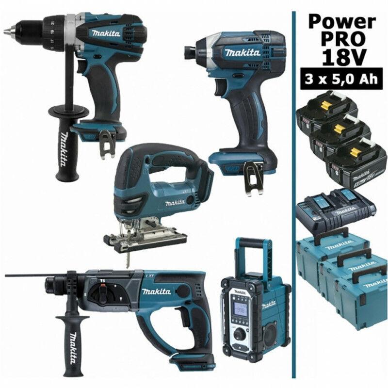 MAKITA Pack Power PRO Makita 18V: Perceuse 91Nm DDF458 + Perfo 2J DHR202 + Scie