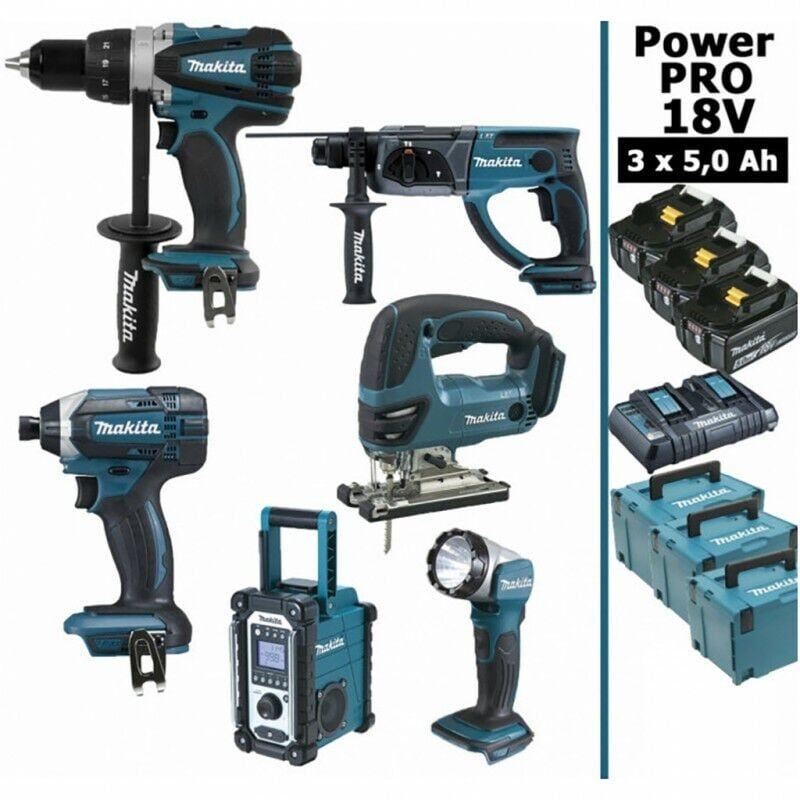 MAKITA Pack Power PRO Makita 6 outils 18V: Perceuse DDF458 + Visseuse à choc DTD152 +