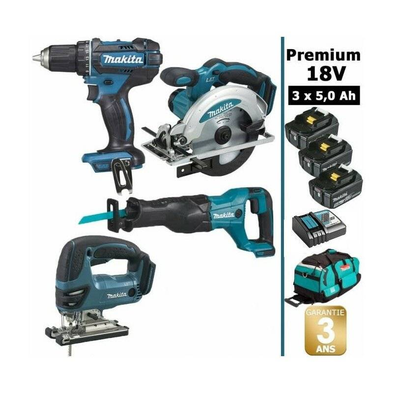 MAKITA Pack Makita Premium 4 machines 18V 5Ah: Perceuse DDF482 + Scie récipro DJR186 +