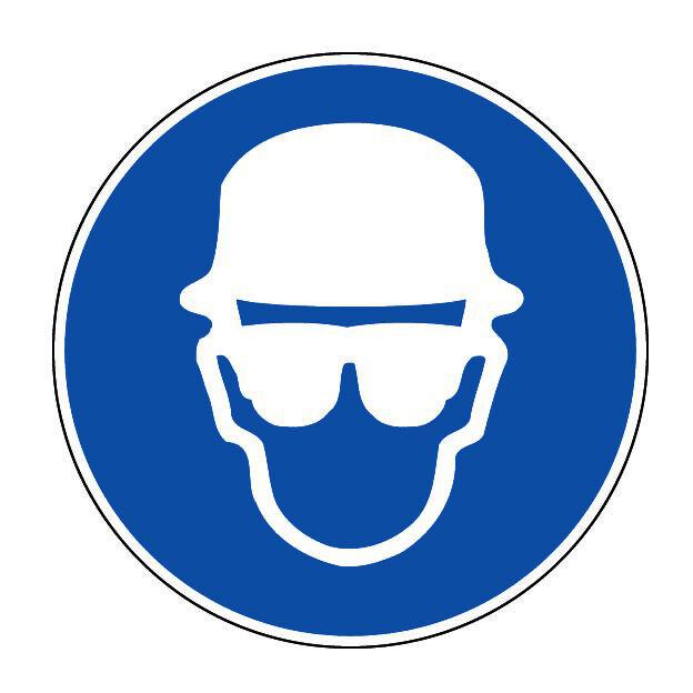Novap - Panneau Obligation de porter un casque plus lunettes - Rigide Ø300mm