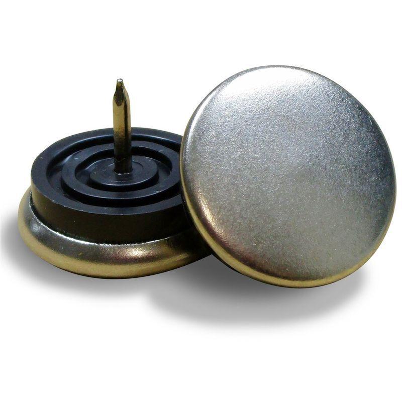 Ajile - Patin de chaise de diamètre 23 mm en acier nickelé, pour usage intensif