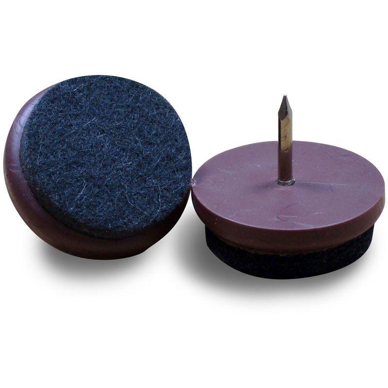 AJILE Patin Feutre diam. 24 mm Usage Intensif - Plastique BRUN et Feutre GRIS - À