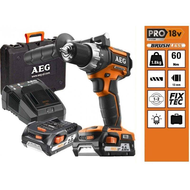 A.e.g - Perceuse Visseuse BRUSHLESS 18V 2.0 AH Pro Lithium AEG BS 18 CBL Li-202C