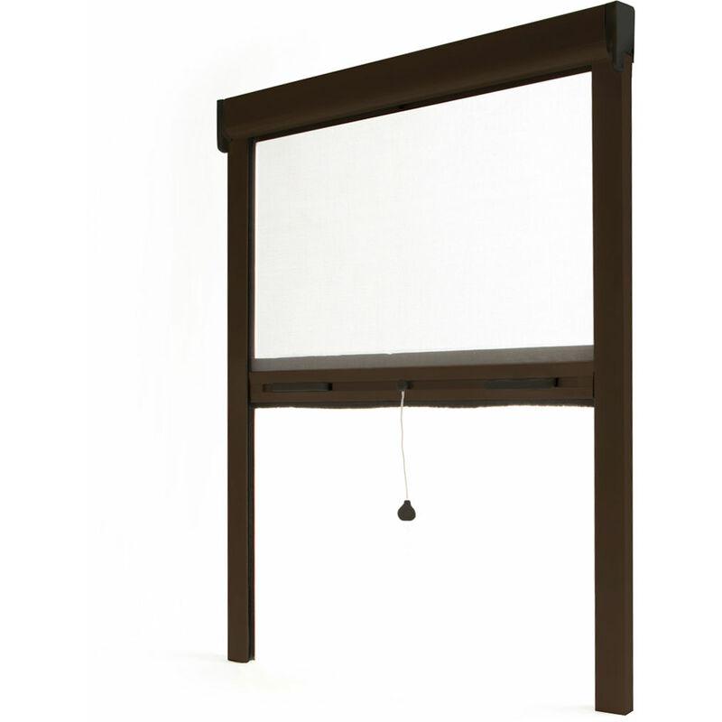 AVOSDIM Store moustiquaire enroulable fenêtre LUXE ALU Marron RAL8014 - L800 x H1000mm