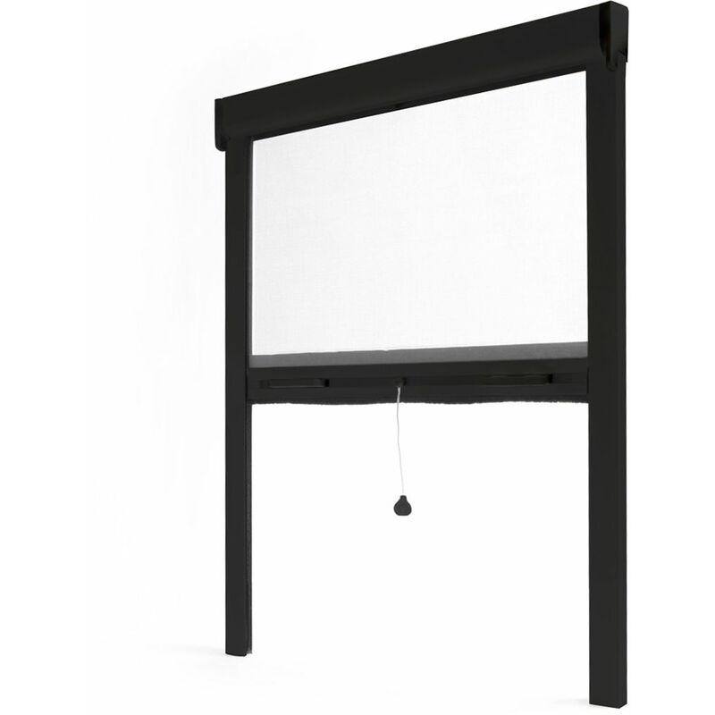 AVOSDIM Store moustiquaire enroulable fenêtre LUXE ALU Noir RAL9011 - L1250 x H2200mm