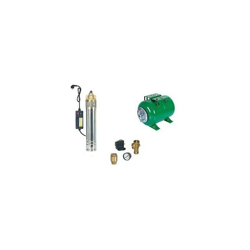 RIBIMEX Surpresseur en Kit Pompe Immergée 750 W - 1 Turbine laiton Réservoir horizontal