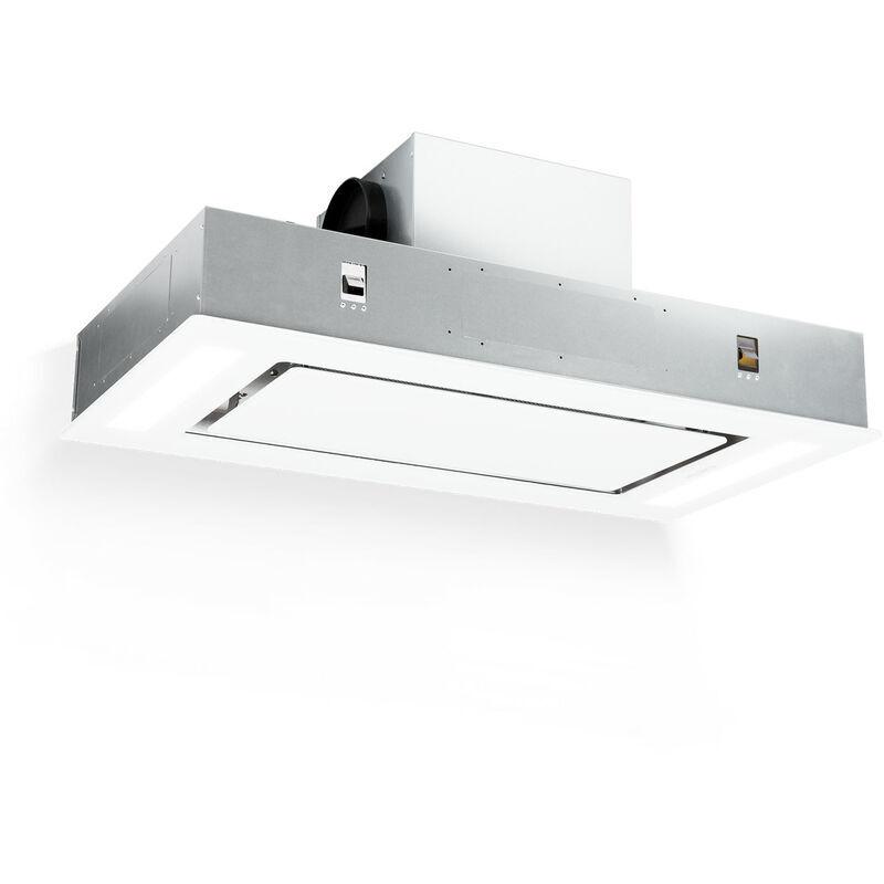 Klarstein Remy Hotte de plafond 90cm 620 m3/h 230W 3 vitesses classe A - blanche