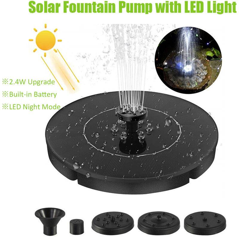 ASUPERMALL 2.4W Led Fontaine Solaire Pompe A Led Fontaine Flottante Batterie Integree Bird