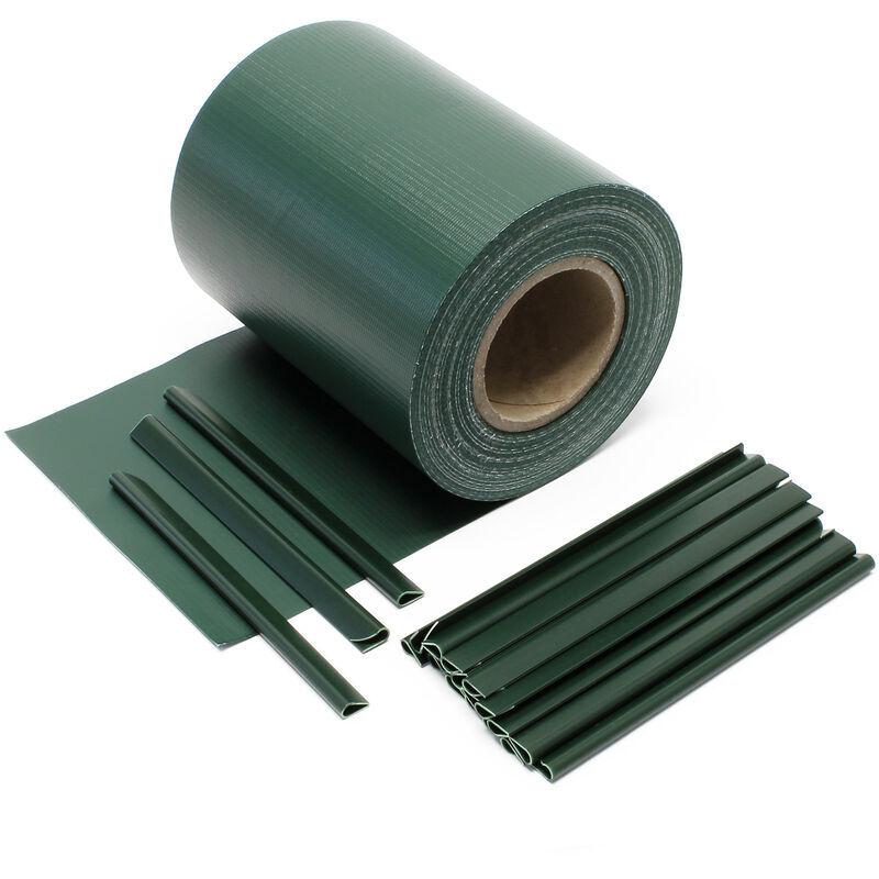 WILTEC Brise-vue Rouleau vert 35mx19cm PVC 650g/m² 20 clips Protection visuelle