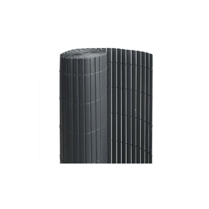 ATOUT LOISIR Canisse en PVC anthracite - 90% d'occultation, Long 15 m, Hauteur 1.20 m