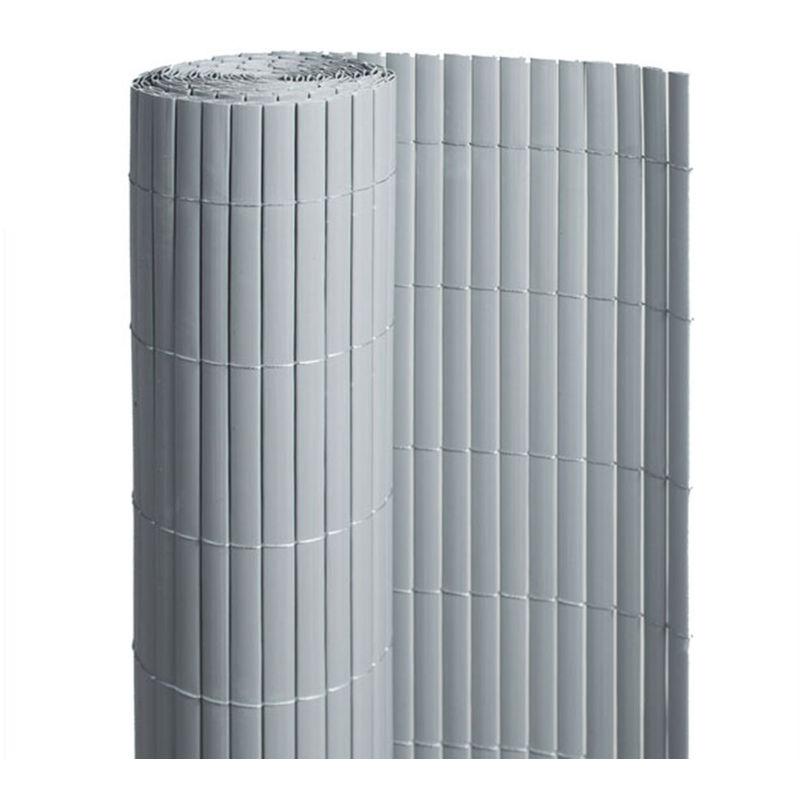 JARDIDECO Canisse PVC double face Gris 18 m - 6 rouleaux de 3 x 1,20 m - Jardideco