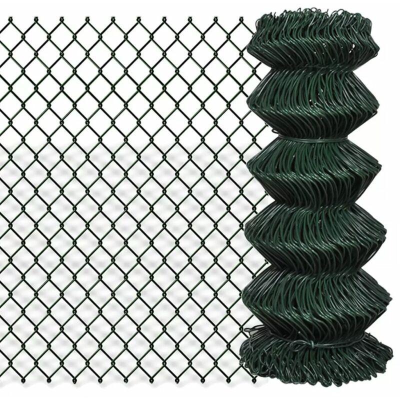 ZQYRLAR Clôture à mailles losangées Acier galvanisé 0,8x15 m Vert