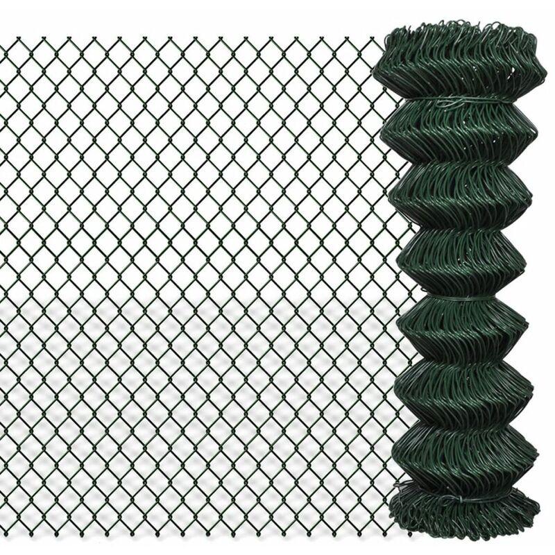 ZQYRLAR Clôture à mailles losangées Acier galvanisé 1,25x15 m Vert