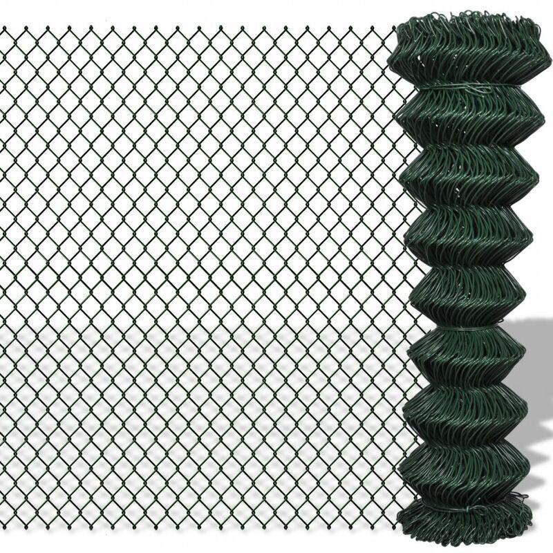 ZQYRLAR Clôture à mailles losangées Acier galvanisé 1,5x25 m Vert