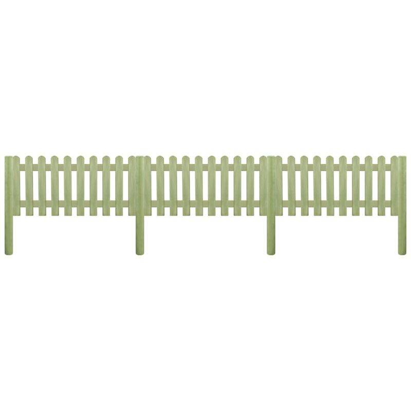 YOUTHUP Clôture à piquets Bois de pin imprégné 5,1 m 130 cm 6/9 cm