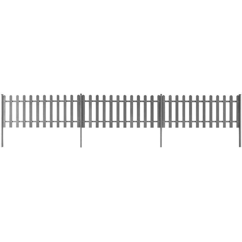 YOUTHUP clôture à piquets avec poteaux 3 pcs WPC 600x80 cm