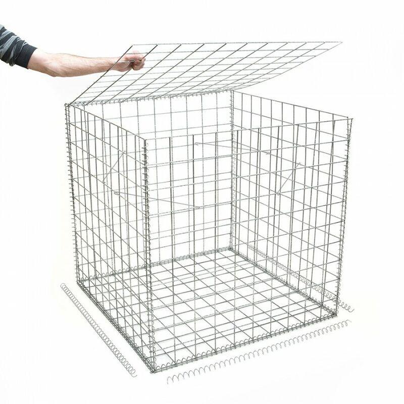 Rinno Gabion - Gabion en kit - 100 cm x 100 cm x 100 cm Maille Carrée 100 mm x