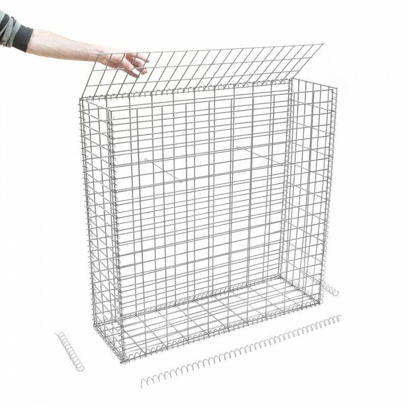 Rinno Gabion - Gabion en kit - 100 cm x 30 cm x 100 cm Maille rectangulaire 50