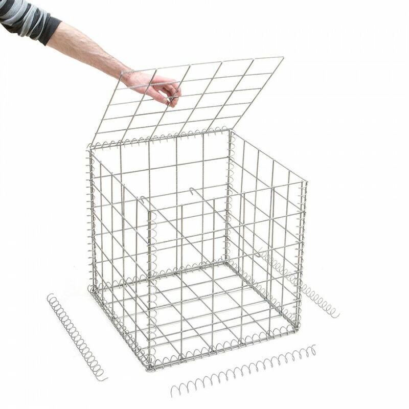 RINNO GABION Gabion en kit - 50 cm x 50 cm x 50 cm Maille rectangulaire 50 mm x 100 mm