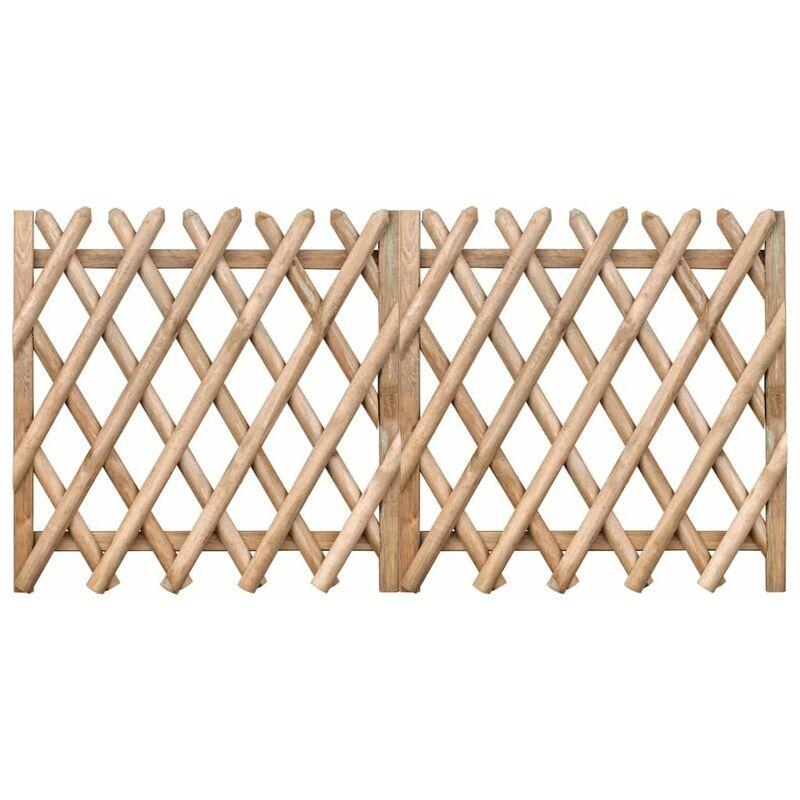 Hommoo Portillons de jardin 2 pcs Bois de pin imprégné 300x100 cm HDV46963