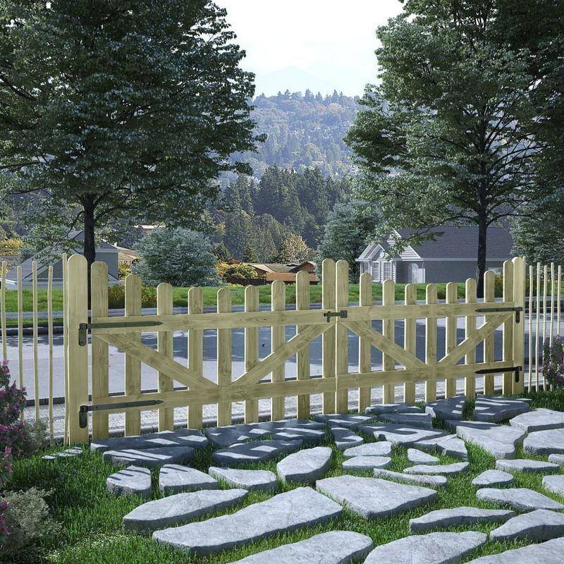 HOMMOO Portillons de jardin 2 pcs Pin imprégné FSC 150 x 100 cm VD29312 - Hommoo