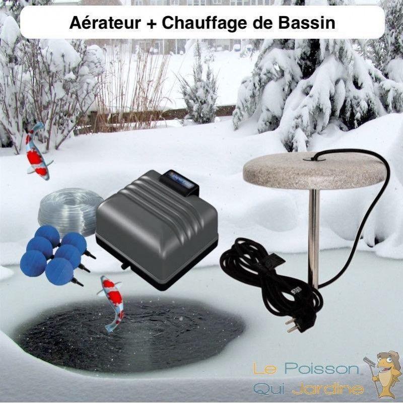 WWW.LEPOISSONQUIJARDINE.FR Lot Chauffage Bassin 150W + Set Aération Pompe 1200 l/h tout inclus