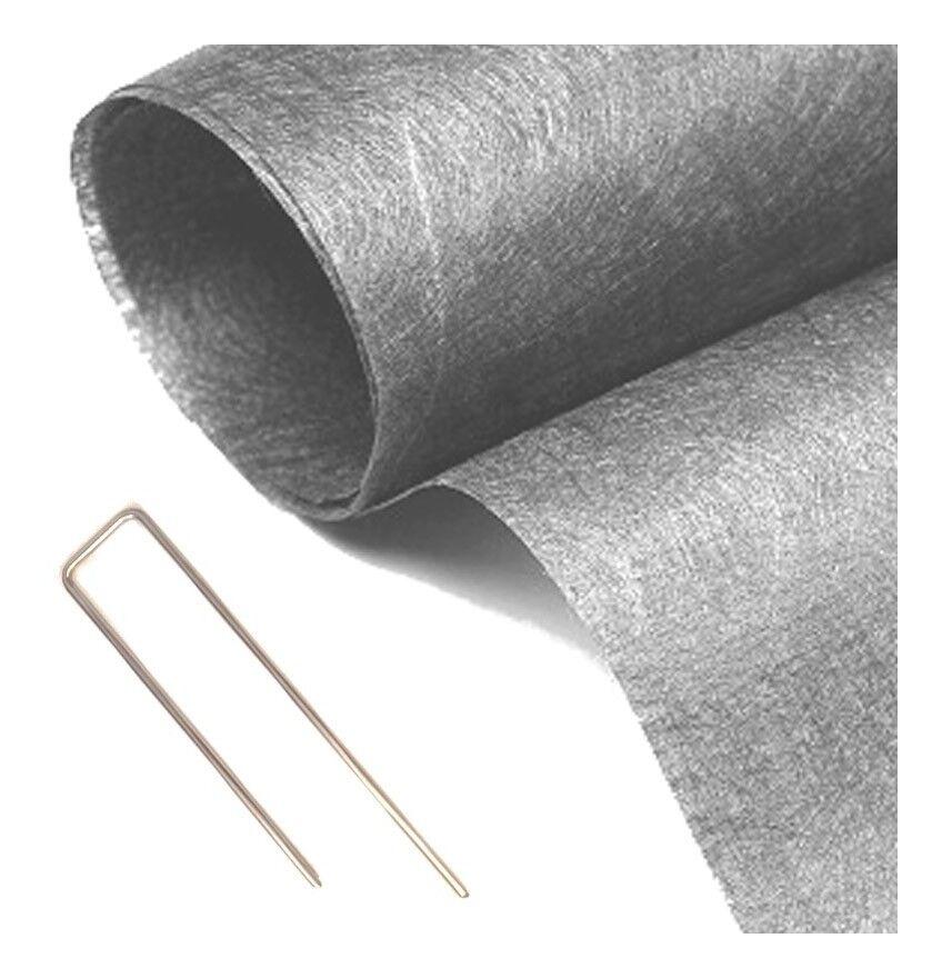 MON GAZON SYNTHÉTI Pack MGS géotextile 90grs gris 2Mx25M soit 50M2 + 10 packs de 10 Hooks