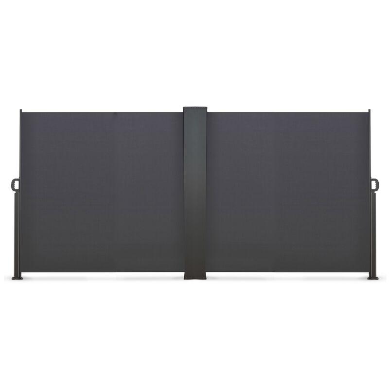 IDMARKET Paravent extérieur rétractable double 800 x 160 cm gris anthracite store latéral