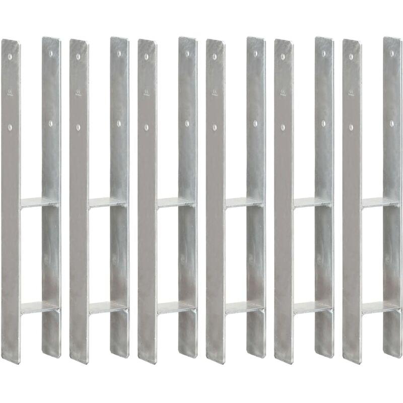 Zqyrlar - Piquets de clôture 6 pcs Argenté 8x6x60 cm Acier galvanisé