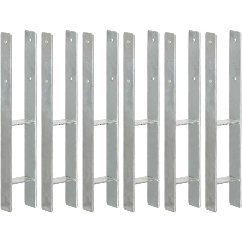 Zqyrlar - Piquets de clôture 6 pcs Argenté 9x6x60 cm Acier galvanisé