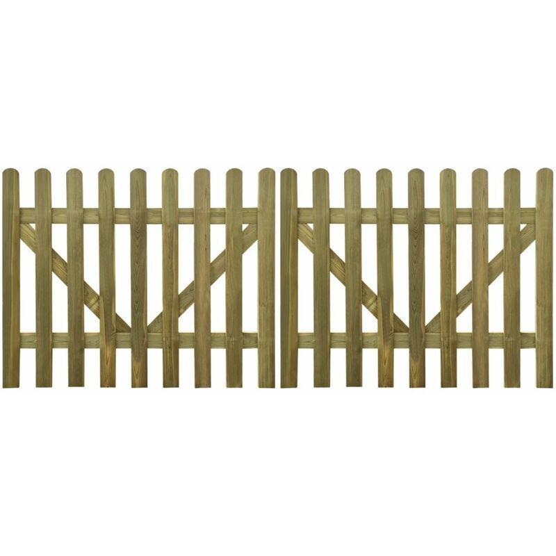 Zqyrlar - Portail de clôture à piquets 2 pcs Bois imprégné 300x120 cm