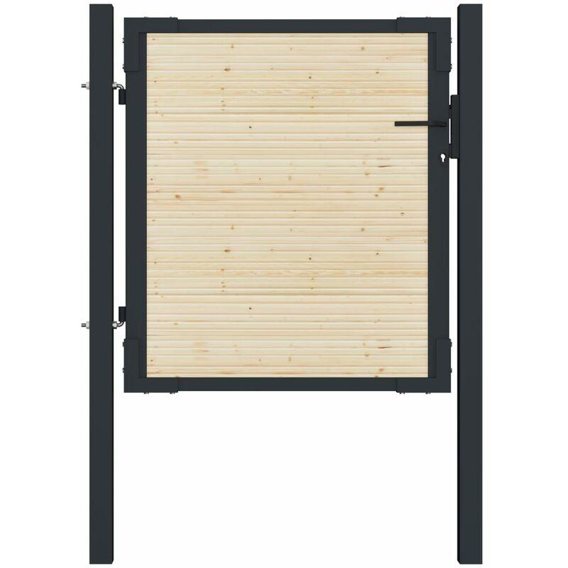 ASUPERMALL Portail de cloture en acier et bois d'epicea 107x150 cm