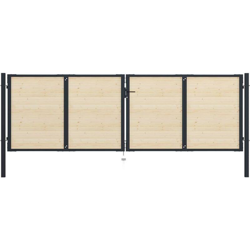 YOUTHUP Portail de Clôture en acier et bois d'épicéa 408x175 cm