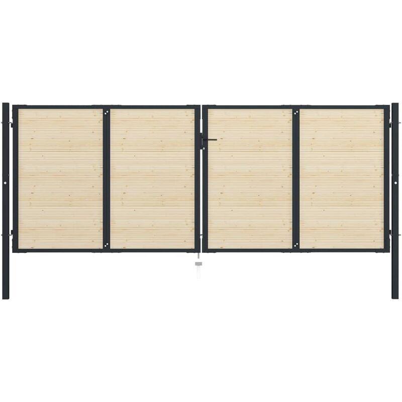 Youthup - Portail de Clôture en acier et bois d'épicéa 408x200 cm