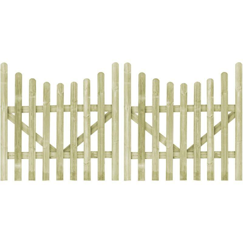 vidaXL Portillons de jardin 2 pcs Pin impregne FSC 150 x 150 cm