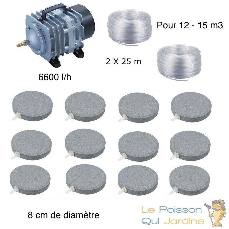 WWW.LEPOISSONQUIJARDINE.FR Set aération bassin 12 disques 8 cm de 12000 à 15000 litres