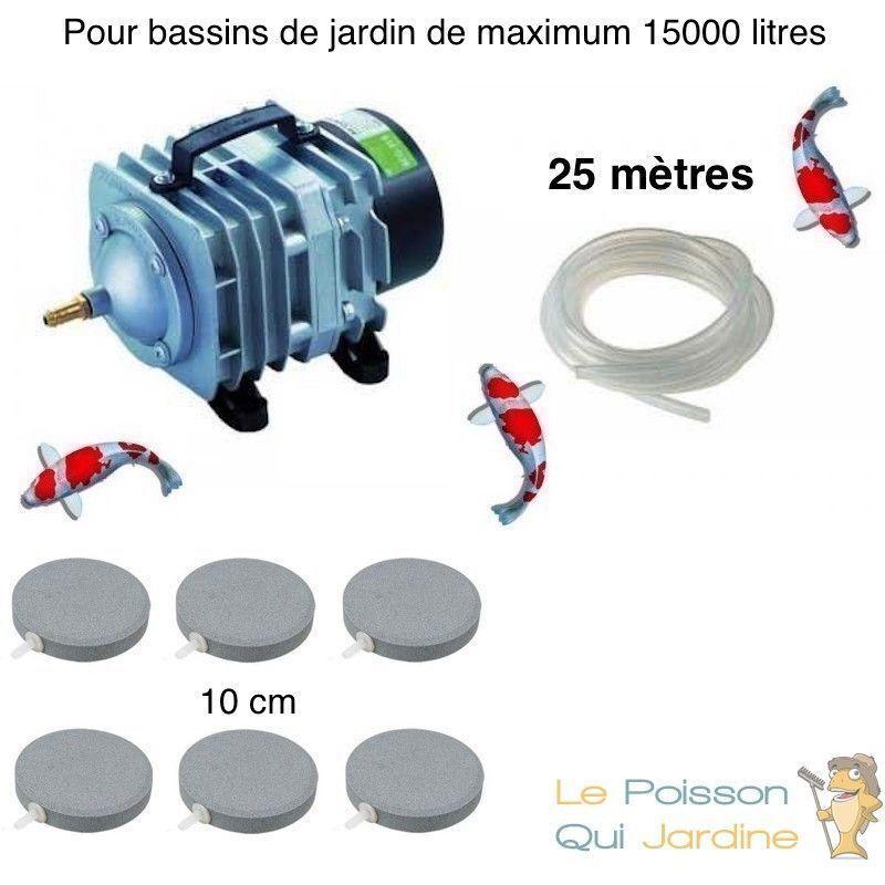 WWW.LEPOISSONQUIJARDINE.FR Set aération bassin 6 disques 10 cm de 12000 à 15000 litres