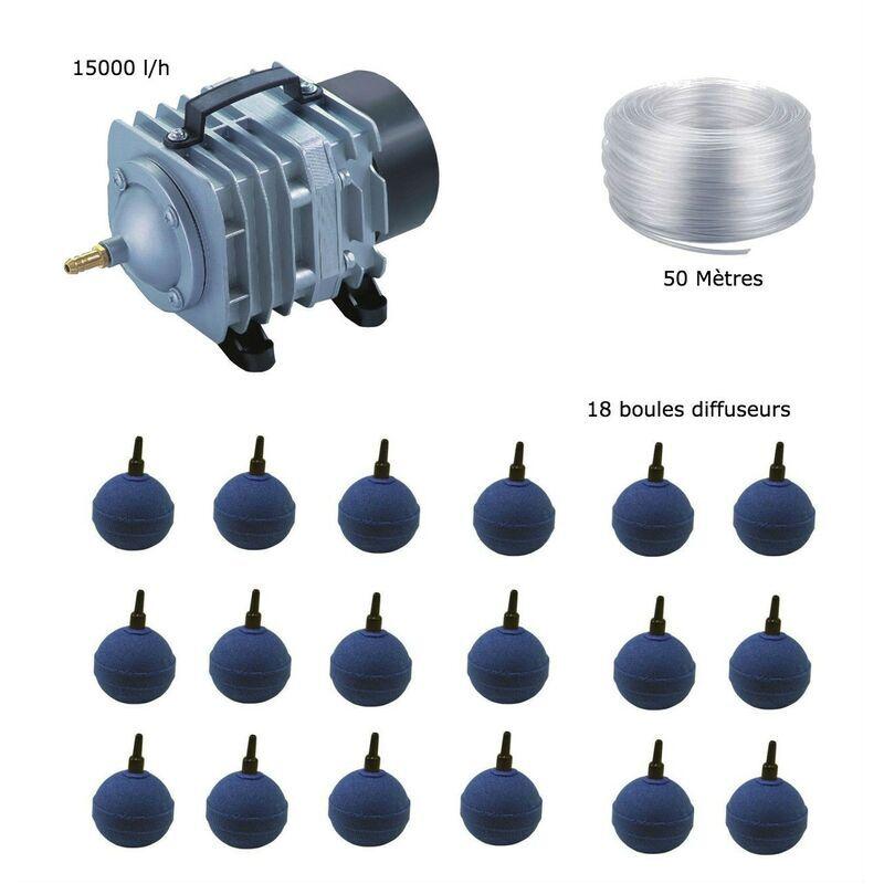 WWW.LEPOISSONQUIJARDINE.FR Set aération bassin de jardin 18 boules de 25000 à 30000 litres