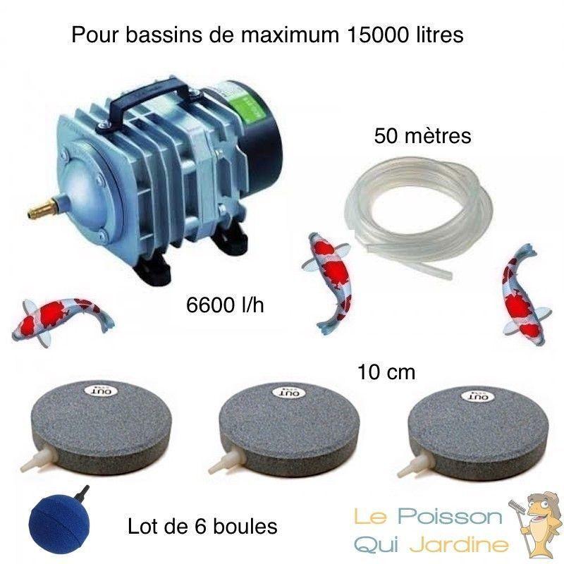 WWW.LEPOISSONQUIJARDINE.FR Set aération bassin de jardin 6 Boules + 3 disques 10 cm de 12000 à 15000 l