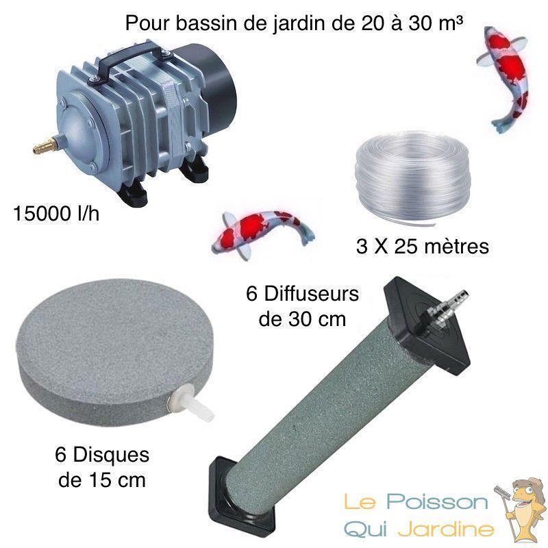 WWW.LEPOISSONQUIJARDINE.FR Set Aération Bassin De Jardin 6 Disques 15 cm + 6 diffuseurs 30 cm De 20000 à