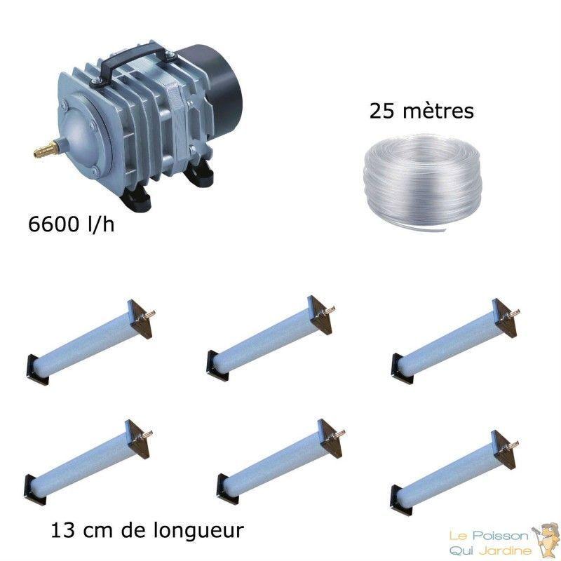 WWW.LEPOISSONQUIJARDINE.FR Set aération bassin de jardin 6600 l/h 6 diffuseurs 13 cm - 12000 à 15000 litres