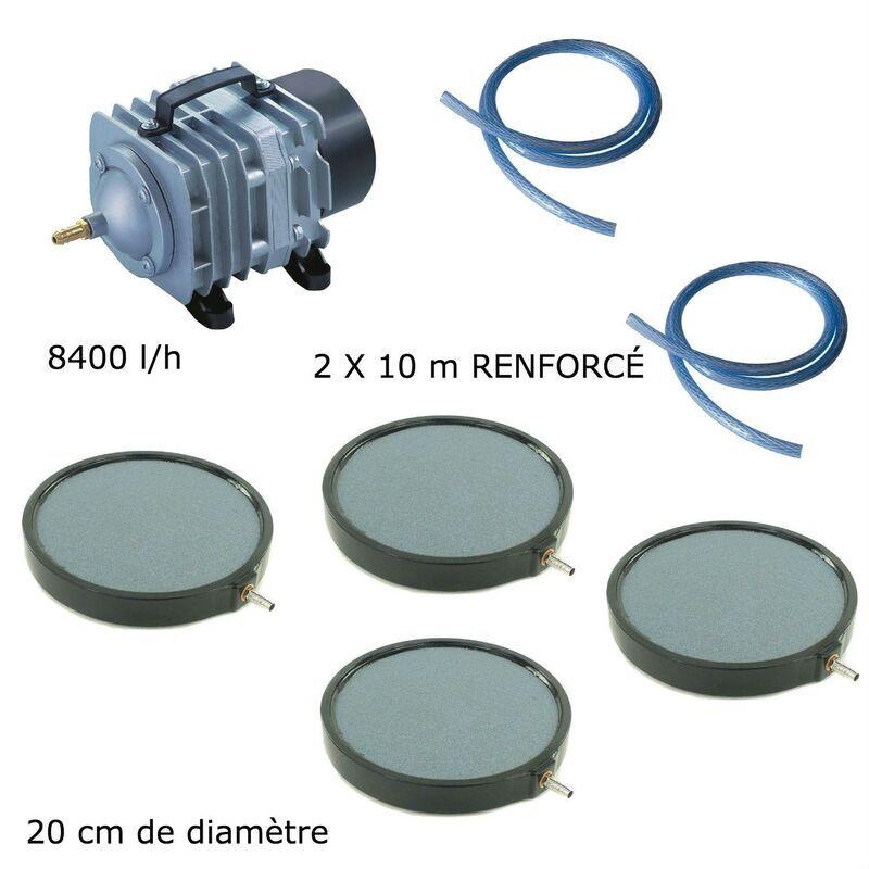 WWW.LEPOISSONQUIJARDINE.FR Set aération bassin de jardin 8400 l/h 4 disques 20 cm de 15000 à 20000 litres