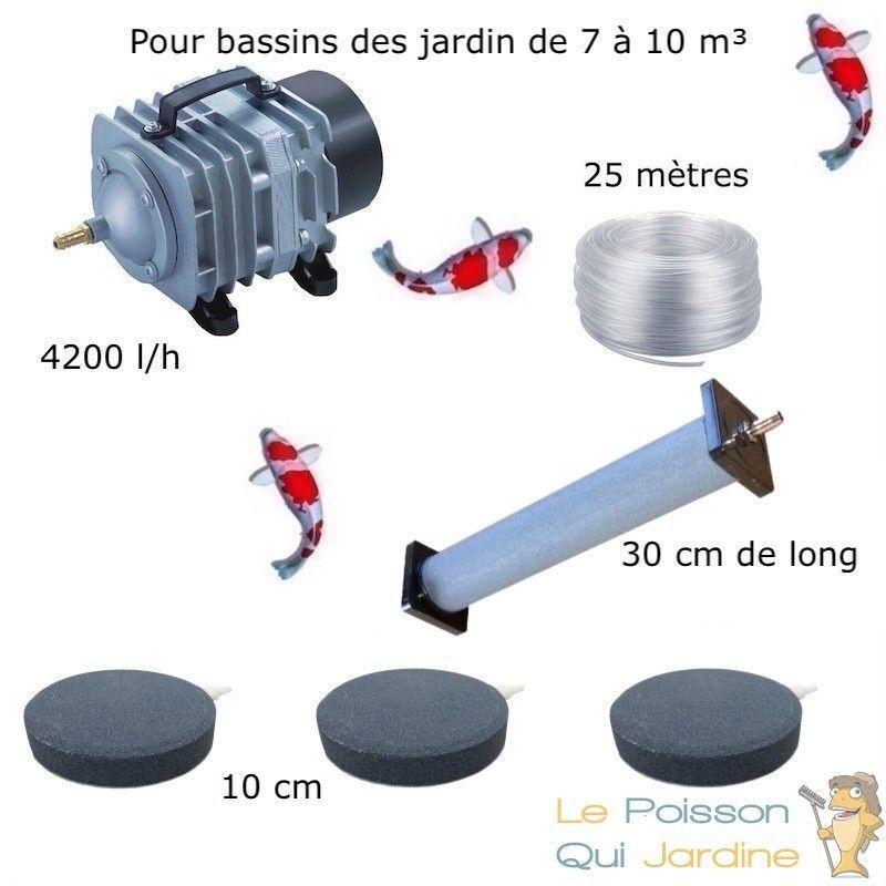 WWW.LEPOISSONQUIJARDINE.FR Set aération 1 Diffuseur 30 cm + 3 Disques 10 cm pour bassin de jardin de 7000