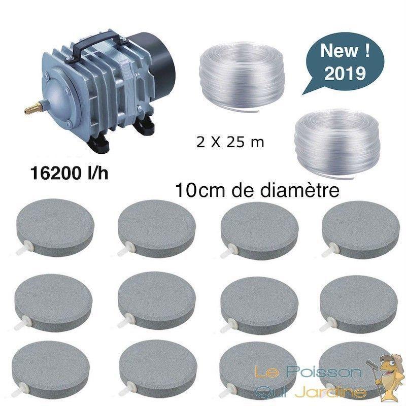 WWW.LEPOISSONQUIJARDINE.FR Set aération bassin de jardin 12 disques 10 cm de 30000 à 50000 litres