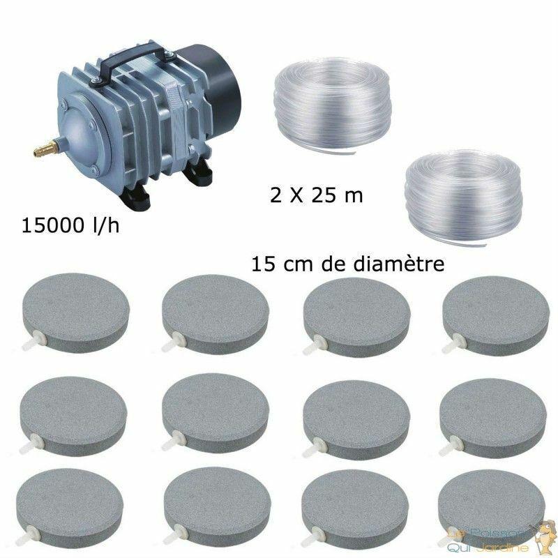 WWW.LEPOISSONQUIJARDINE.FR Set aération bassin de jardin 12 disques 15 cm de 25000 à 30000 litres