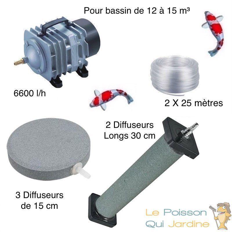 WWW.LEPOISSONQUIJARDINE.FR Set aération bassin de jardin 3 Disques 15 cm + 2 diffuseurs 30 cm de 12000 à
