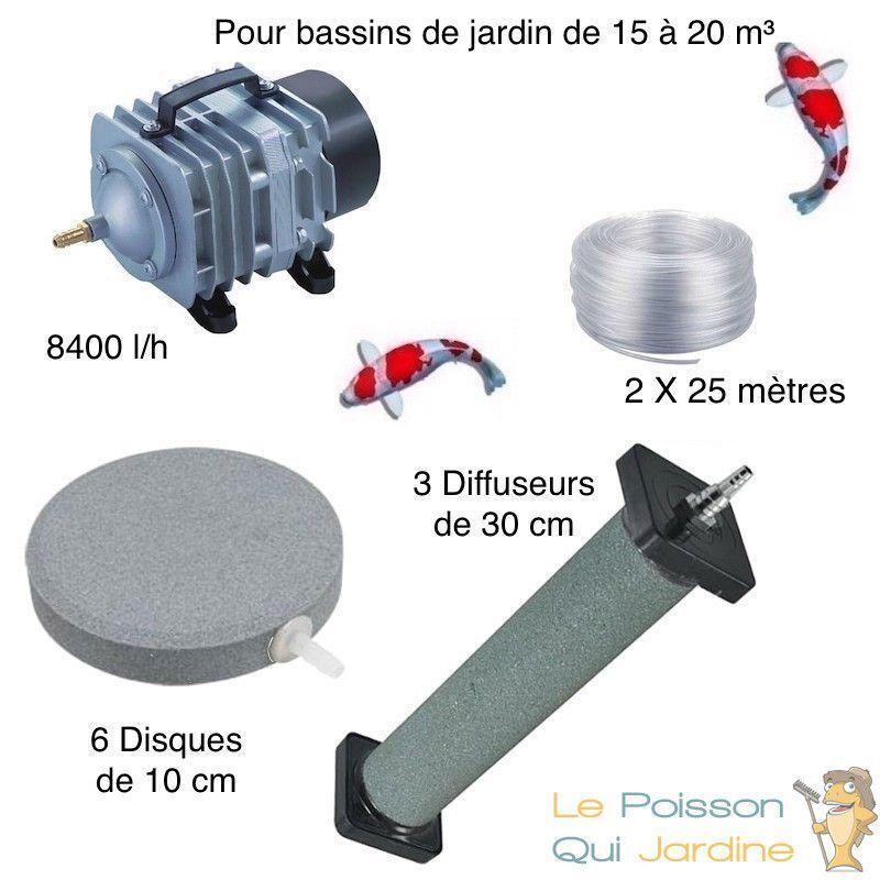 WWW.LEPOISSONQUIJARDINE.FR Set aération bassin de jardin 6 disques 10 cm + 3 Diffuseurs 30 cm de 15000 à