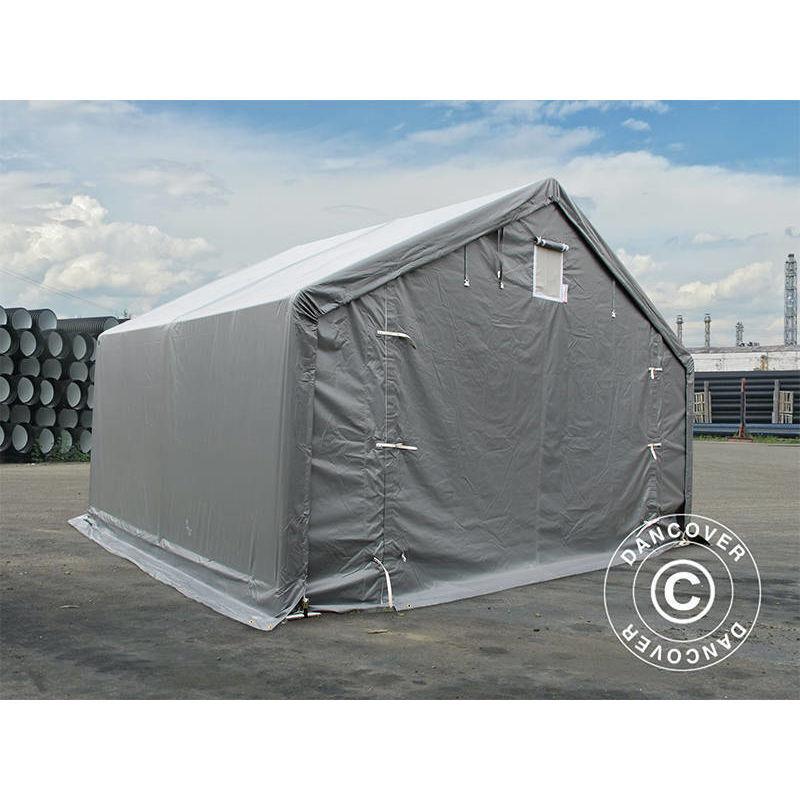 DANCOVER Tente de Stockage Tente Abri PRO 5x4x2x3,39m, PVC, Gris